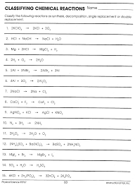 worksheet 3 balancing equations and identifying types of reactions