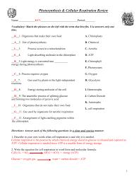 Photosynthesis Chart Worksheet Photosynthesis Cellular Respiration Worksheet