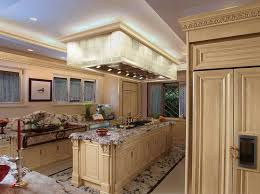 island range hood with multi windows framed picture marble countertop in classic kitchen ideas