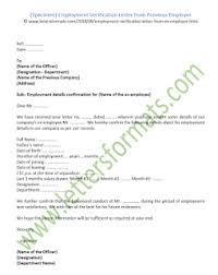Verification Letter From Employer Employment Verification Letter From Previous Employer Sample