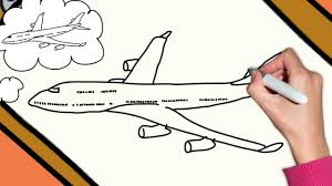 how to draw a plane airplane boeing 747 step by step easy drawing for kids you