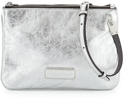 leather cross bags marc by marc jacobs ligero novelty double percy cross bag silver