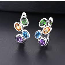 Hutang Colorful Gemstone Hoop Earrings 925 Sterling Silver ...