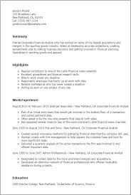 Resume Templates: Corporate Financial Analyst