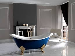 furniture dark blue and white cast iron bathtub design with gold color claw feet and