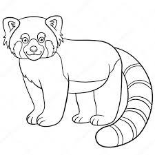 Kleurplaten Kleine Schattige Rode Panda Glimlacht Stockvector