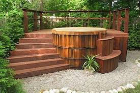 classic wood hot tub step and wrap around