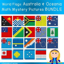 Australia Oceania World Flags Hundred Chart Mystery Pictures Bundle