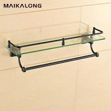 bathroom glass shelf with rail bathroom glass shelf wall mount with towel bar and rail black oil rubbed bronze antique black finish in bathroom shelves from