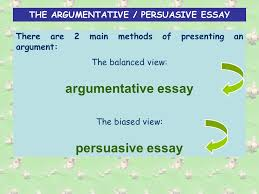 the argumentative persuasive essay there are main methods of 2 there are 2 main methods of presenting an argument the balanced view argumentative essay the biased view persuasive essay