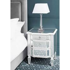 leonore mirrored white painted bedside table