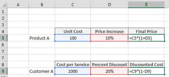 Percentage Chart Calculator Applying A Percent Increase Or Decrease To Values In Excel