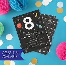 Children Birthday Invitations Personalised Space Childrens Birthday Invitations