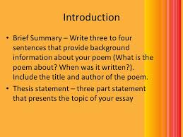 how to write a poem analysis essay ppt video online  8 introduction brief summary write