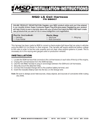 msd ls coil harness installation user manual pages