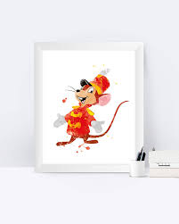 Timothy Mouse Print Dumbo Poster Timothy Q Mouse Dumbo Print Watercolor  Painting Printable Disney Wall Art Kids Decor Baby Shower Gifts