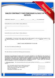 Sale Agreement Forms Free Printable Contract To Sell On Land Contract Form Generic
