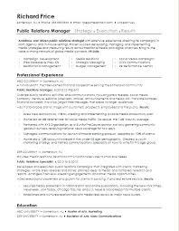 public relations sample resume public relations resume prettify co