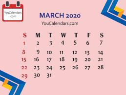 Monthly 2020 Calendar Templates