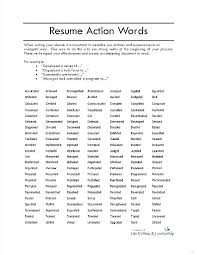 Resume Action Words List Of Action Words For Resume Best Resume