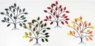 on metal wall art trees and branches with metal wall art 4 seasons tree branch set
