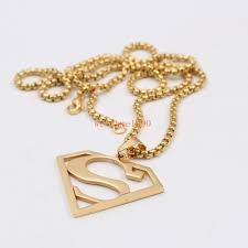 details about fashion gifts gold stainless steel superman necklace pendant box rolo chain 24