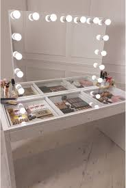 crisp white finish slaystation make up vanity with premium storage three ious drawers encrusted with diamanté cut light reflecting gl handles topped