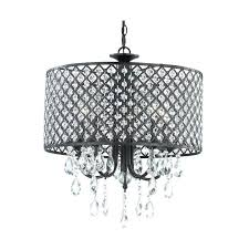 large drum chandelier with crystals lighting white