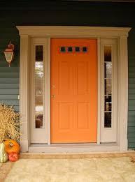 Orange front door Mid Century Front Door With Orange Colors And Sidelights Wearefound Home Design Front Door With Orange Colors And Sidelights Ways To Paint Your
