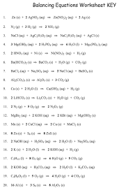 writing writing and balancing chemical equations worksheet