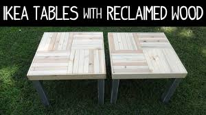 ikea lack table makeover version 2 with reclaimed wood slats and distressed paint you