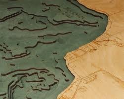 Houghton Lake 3 D Nautical Wood Chart 24 5 X 31