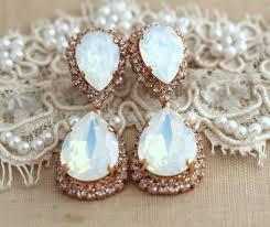 white opal chandelier earrings bridal opal earnings bridal earrings rose gold chandelier dangle earrings swarovski chandelier earrings
