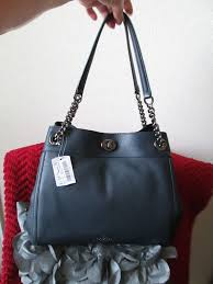 NWT COACH Turnlock Edie Shoulder Bag in Pebble Leather  Navy 395.  purses   fashion