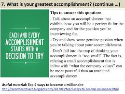 7 What Is Your Greatest Accomplishment Continue Tips To