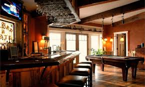 rustic basement design ideas. Exciting Rustic Basement Remodeling Ideas : Enchanting Kitchen Decoration Using Solid Cherry Wood Bar Design