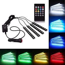 Rally R000246 4x 9 <b>LED</b> RGB <b>Car</b> Interior Decorative Light Floor ...