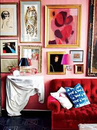 eclectic art red sofa tufted valentines day decor gallery wall picture frames ideas pink walls