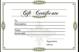 gift certificate for pany