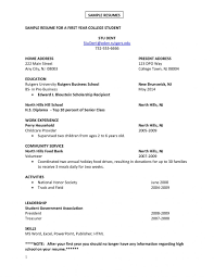 Summer Job Resume Samples For College Students First Examples Pdf