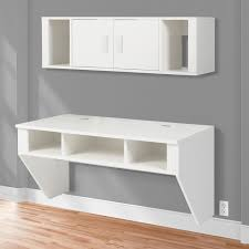 bcp designer floating desk with hutch white finish wall mounted computer desk