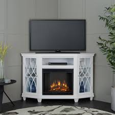 corner electric fireplace in white