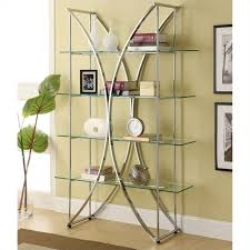 coaster x motif bookshelf with floating style glass shelves in chrome 910050