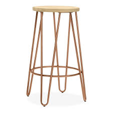 wooden seat bar stools. Loxley Vintage Copper Bar Stool With Wooden Seat Stools