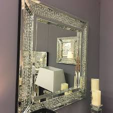 floating crystal rectangle wall mirror