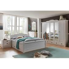 Landhaus Schlafzimmer Aus Kiefer In Weiß Mit Bett 180x200 Laburita