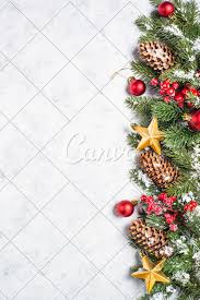 Background Decorations Design Christmas Background With Fir Tree And Decorations
