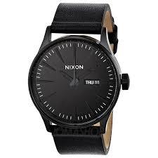 nixon sentry leather all black men s watch black men and all nixon sentry leather all black men s watch