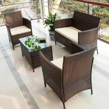 ... Patio, Dark Brown Square Modern Ratttan Patio Table And Chairs Set  Stained Design For Wayfair ...