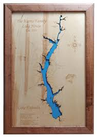Cobbosseecontee Lake Depth Chart Wood Laser Cut Map Of Lake Eufaula In And 50 Similar Items